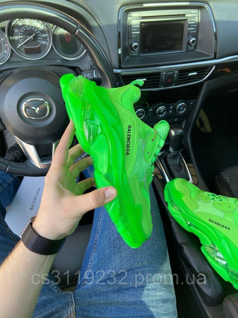 Чоловічі кросівки Balenciaga Triple S Clear Sole Neon Green (зелені)