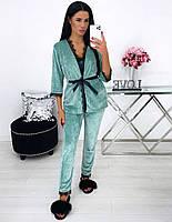 Женская велюровая оливковая пижама тройка, фото 1