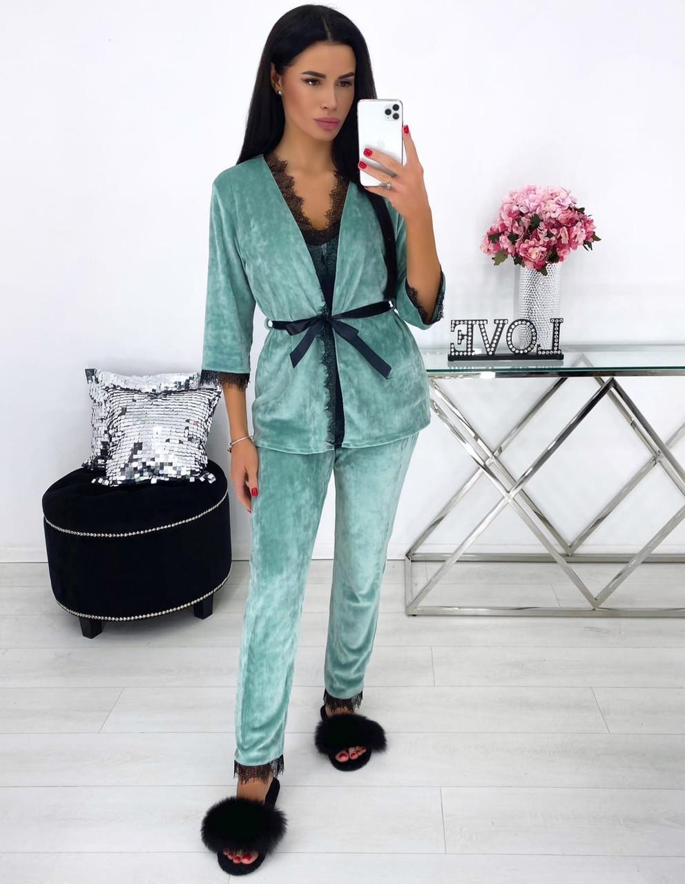 Женская велюровая оливковая пижама тройка