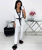 Женская велюровая белая пижама тройка, фото 1