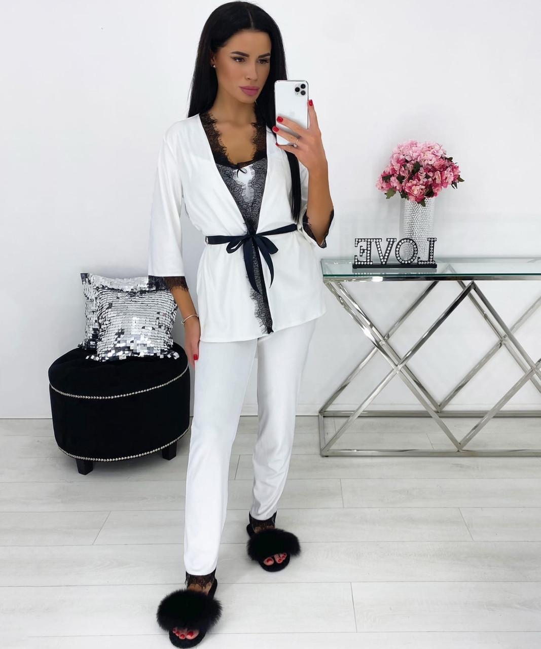 Женская велюровая белая пижама тройка