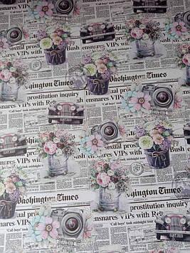 Крафт бумага упаковочная газета рисунок размер 1 метр на 70 см 1 шт