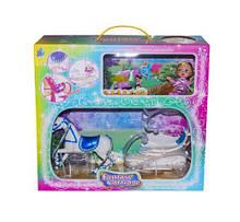 Карета с лошадкой (синее седло) и куклой SM3006