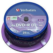 DVD+R Verbatim (43757) DL 8.5GB 8x Cake, 25шт