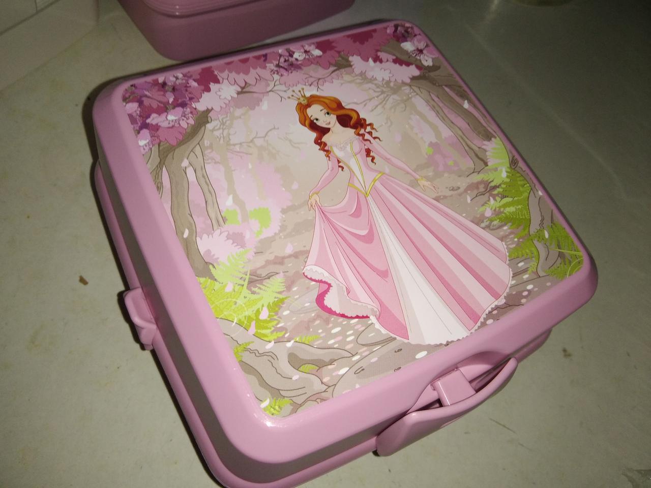 Ланчбокс двойной с вилкой и ложкой Турция  021175 Hobbi Life контейнер розовый принцесса