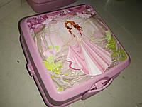 Ланчбокс двойной с вилкой и ложкой Турция  021175 Hobbi Life контейнер розовый принцесса, фото 1