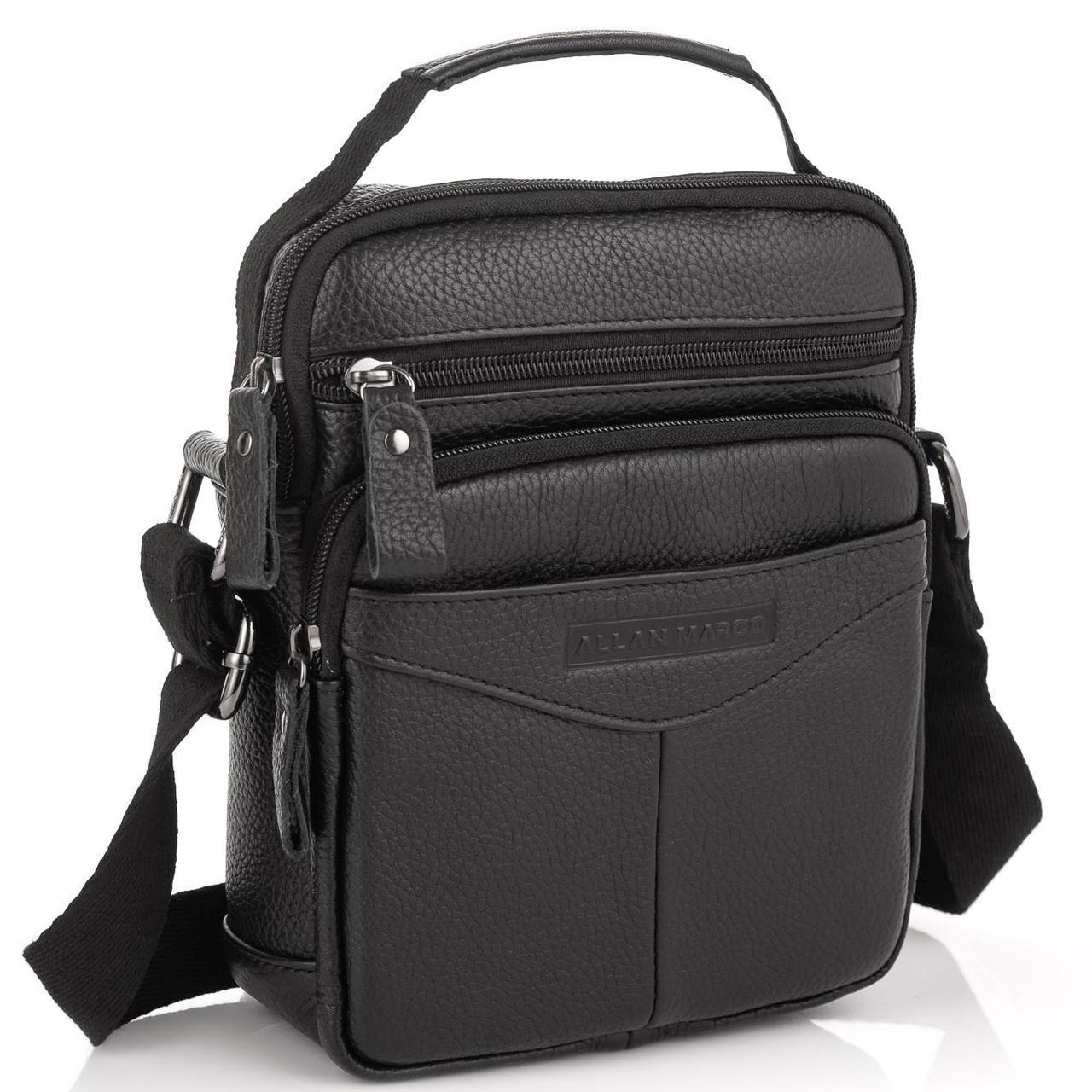 Кожаная мужская сумка-мессенджер черная Allan Marco RR-9055A