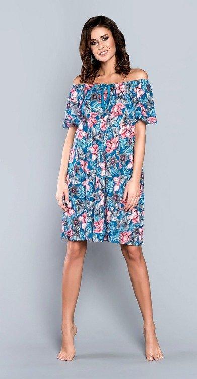 Ночная рубашка свободного кроя из вискозы с принтом цветов Italian Fashion OPUNCJA , M
