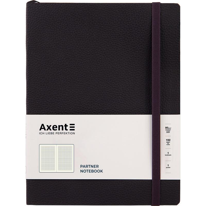 Книга записна Partner Soft L, 190*250, 96 арк, кліт, чорна