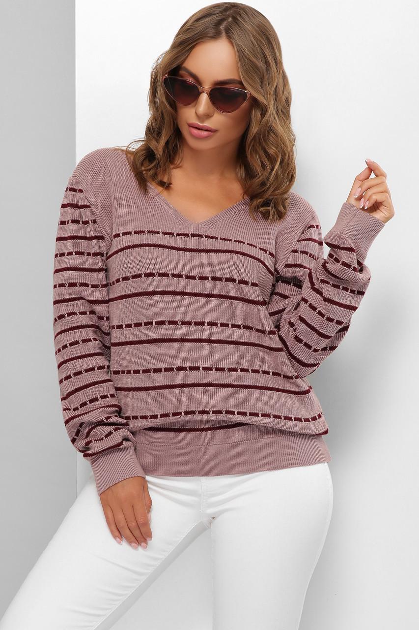 Модний жіночий вовняний светр в смужку Пудра розмір 44-50
