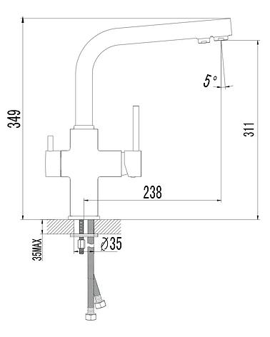 """Cмеситель для кухонной мойки, Imprese""""DAICY"""" 55009-F, с подключением питьевой воды,Чехия, фото 2"""