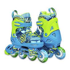 Роликовые коньки раздвижные детские в наборе защита, шлем, сумка JINGFENG 189 (S (31-34), Синий), фото 2