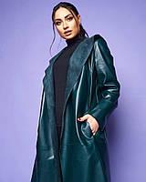 Жіноче шкіряне пальто без застібки великого розміру.Розміри:46/48,50/52,54/56+Кольору, фото 1