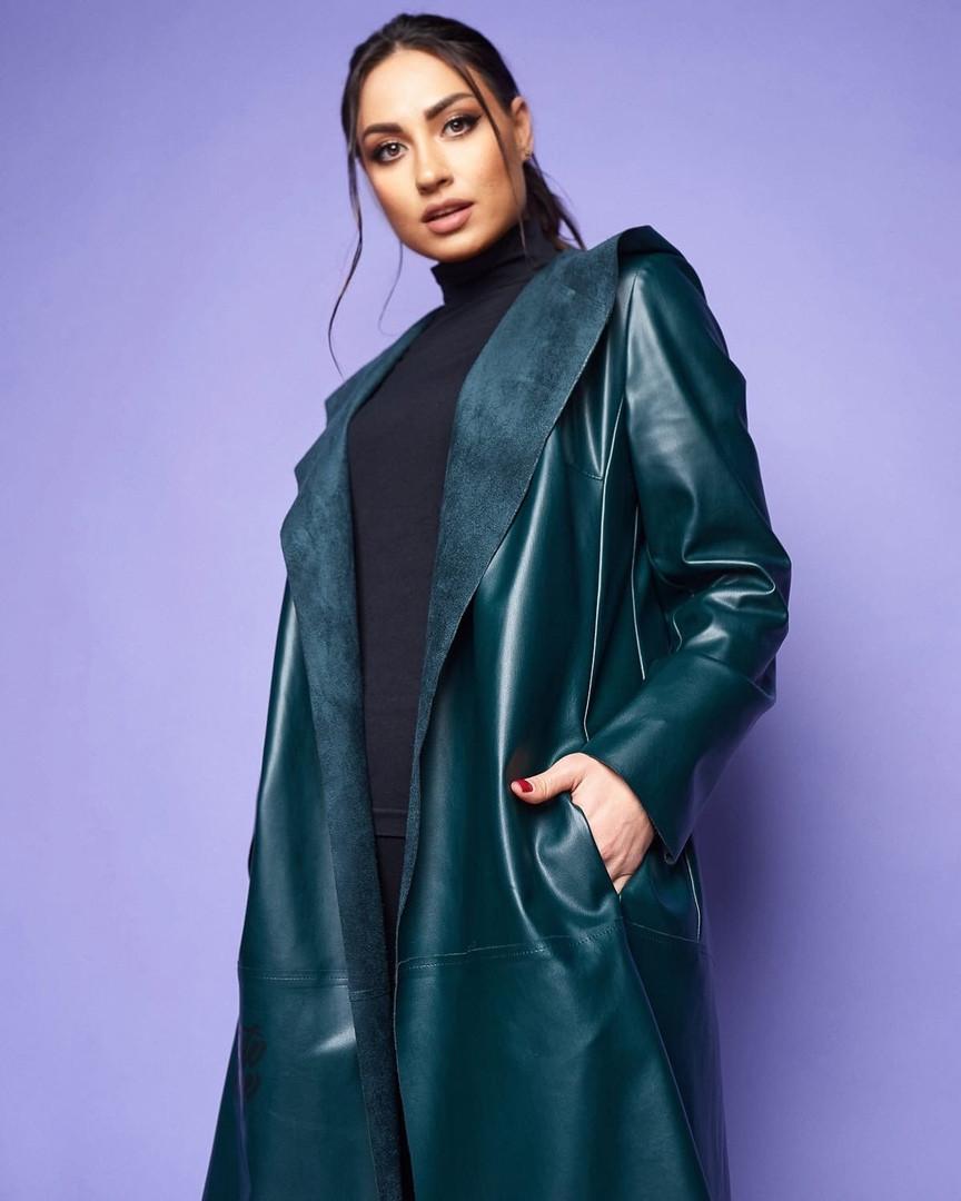 Жіноче шкіряне пальто без застібки великого розміру.Розміри:46/48,50/52,54/56+Кольору