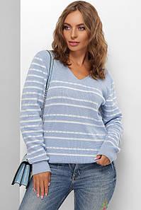 Модный женский шерстяной свитер  в полоску Голубой 44-50 размер