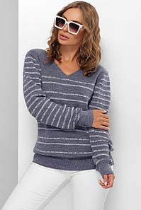 Модный женский шерстяной свитер  в полоску Джинс 44-50 размер