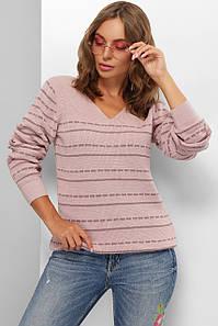Модный женский шерстяной свитер  в полоску Пудра 44-50 размер