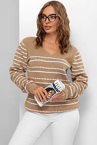 Модный женский шерстяной свитер  в полоску Беж 44-50 размер