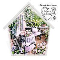 Ключниця Будиночок середня 18 на 23 см, Літня альтанка, ручна робота, романтична