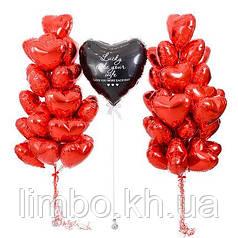 Фольгированные шары сердца красивое оформления для второй половинки