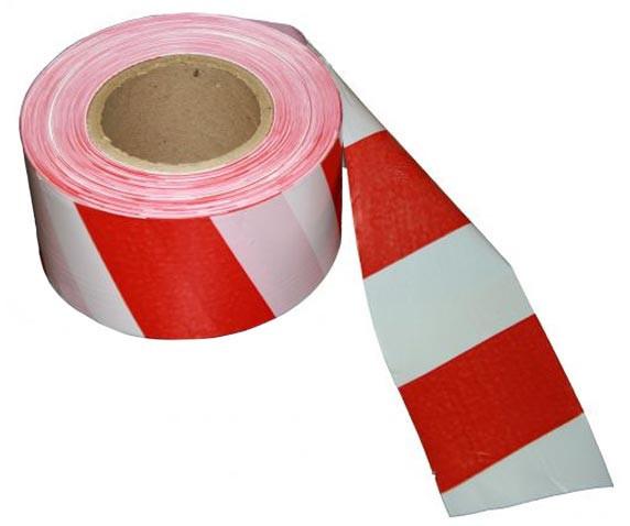 Сигнальная оградительная лента красно белая 72мм*500м