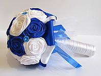 Свадебный Брошь-букет Бело-синий