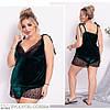 Жіноча красива мереживна оксамитова піжама (шорти і майка) розмір 50 52 54 56 58 60, фото 3