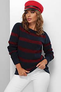 Модный женский свитер  в полоску Темно-синий 44-50 размер