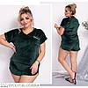 Жіноча красива мереживна оксамитова піжама (шорти і майка) розмір 50 52 54 56 58 60, фото 2