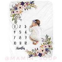 Плед фліс для фото по місяцях для дівчинки ковдру Фото фотопелюшка пелюшка для новонародженних