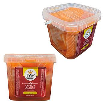 Слайсы сёмги слабосолёные в маринаде. Цена указана за ведро 1 кг.