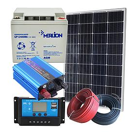100 Вт автономная солнечная электростанция комплект Кемпинг-100 с инвертором 500 Вт и резервом АКБ