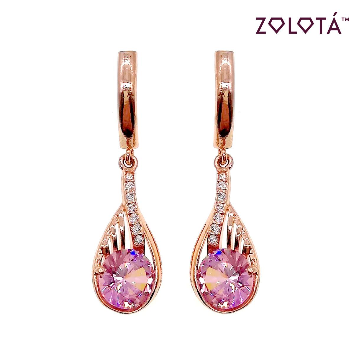 Серьги Zolota с розовыми и белыми фианитами (куб. цирконием), из медицинского золота, в позолоте, ЗЛ00484 (1)