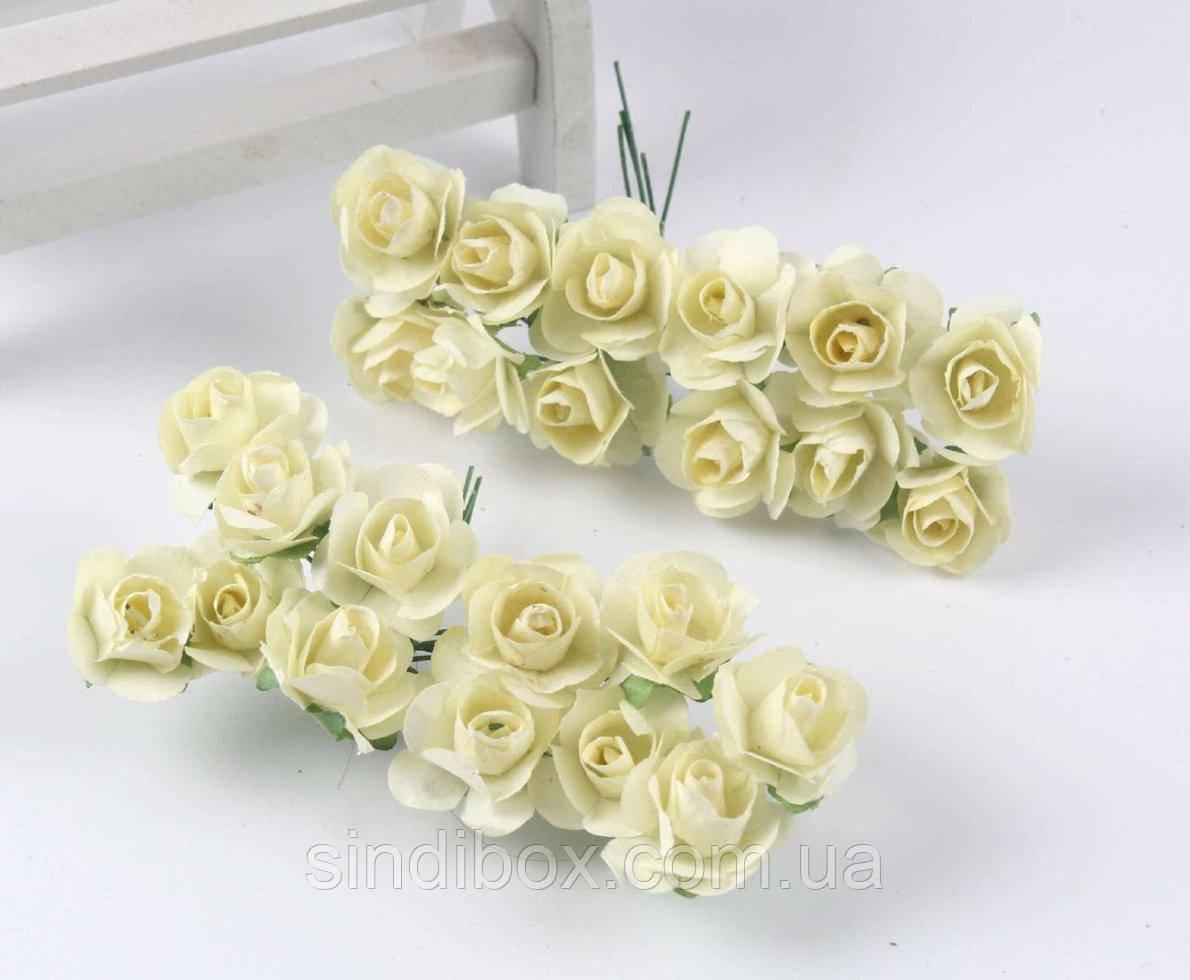 Роза бумажная 1,5см (букет 12шт) Цвет - Молочный (сп7нг-4872)