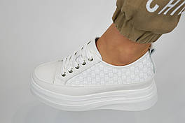 Кросівки з плетінням Berkonty 82189 38 Білі шкіра
