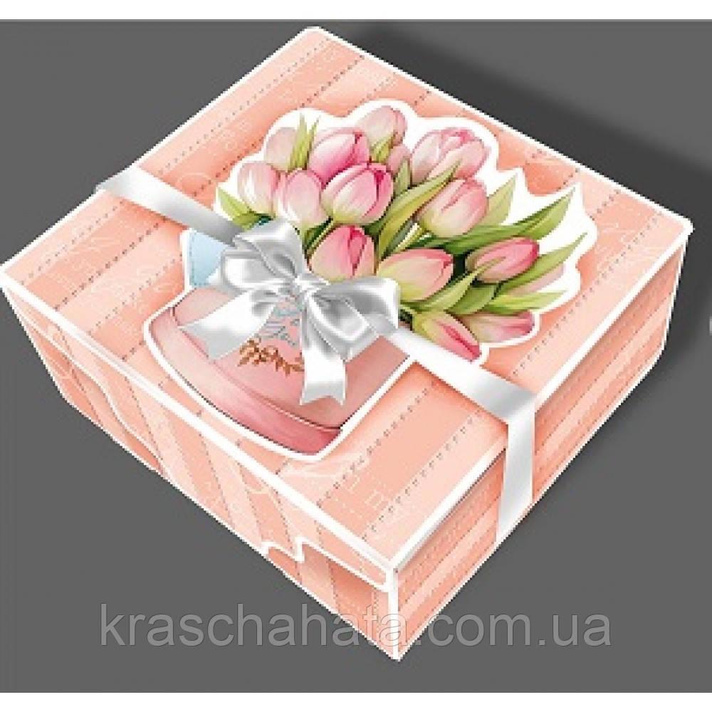 Подарочная коробка с лентой, Шкатулка c открыткой, Букет тюльпанов, Картонная упаковка для конфет, 700 грамм