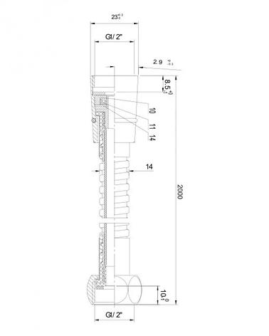 Шланг для душа Imprese 1120 з подвійною опліткою обертовий циліндр, еластичний, 2м, Чехія, фото 2