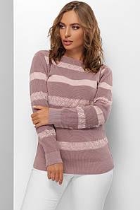 Модный женский свитер  в полоску Голубой 44-50 размер