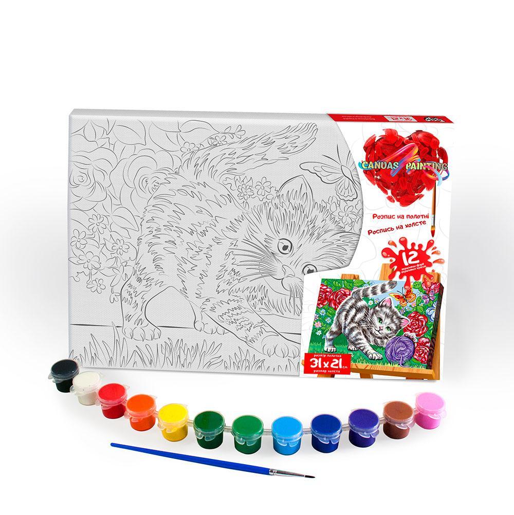 """Креативна творчість """"Розпис на полотні """"Canvas Painting"""" 21см*31см с.6 №8 кошеня в квітах"""