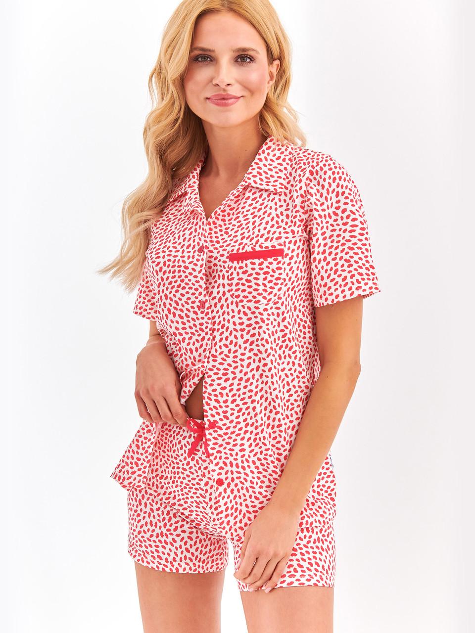 Женская пижама с рубашкой на пуговицы, M, червоний
