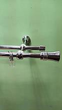 Карниз для штор металевий подвійний 16+16мм ГІРО Довжина 2.4 м. Колір Хром.