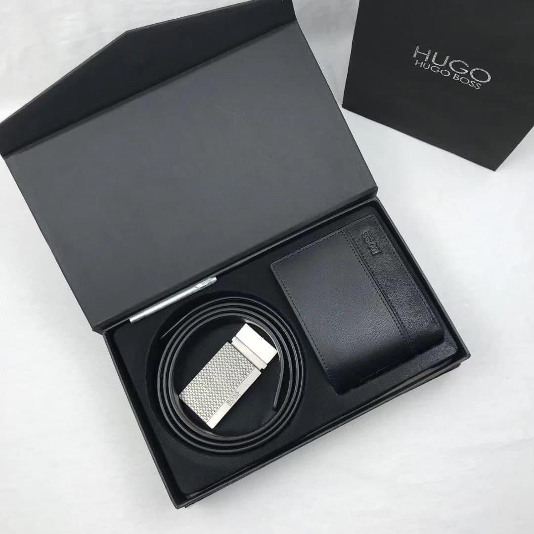 Чоловічий подарунковий набір Hugo Boss ремінь, портмоне