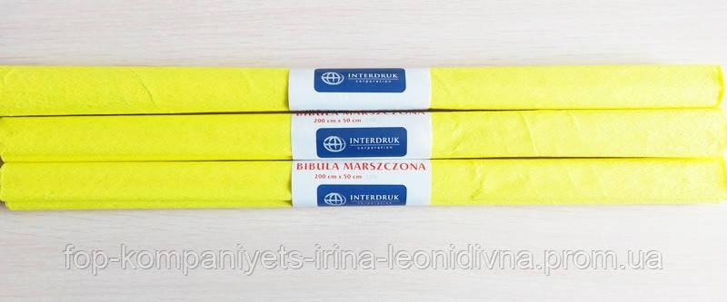 Бумага крепированная INTERDRUK (50см*200см), лимонный №03 (10 шт/уп)