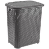 Корзина пластик TP562 Tuffex для белья РАТТАН 65 л серая квадратная, фото 2