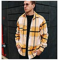 Мужская теплая зимняя рубашка горчичная, весенняя утепленная кашемировая тенниска осенняя сорочка оверсайз