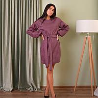 Замшеве шикарне плаття з поясом і красивими рукавами кольором марсала
