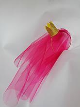 Фата на девичник на ободке обруче ободочке малиновая розовая красная золотая корона