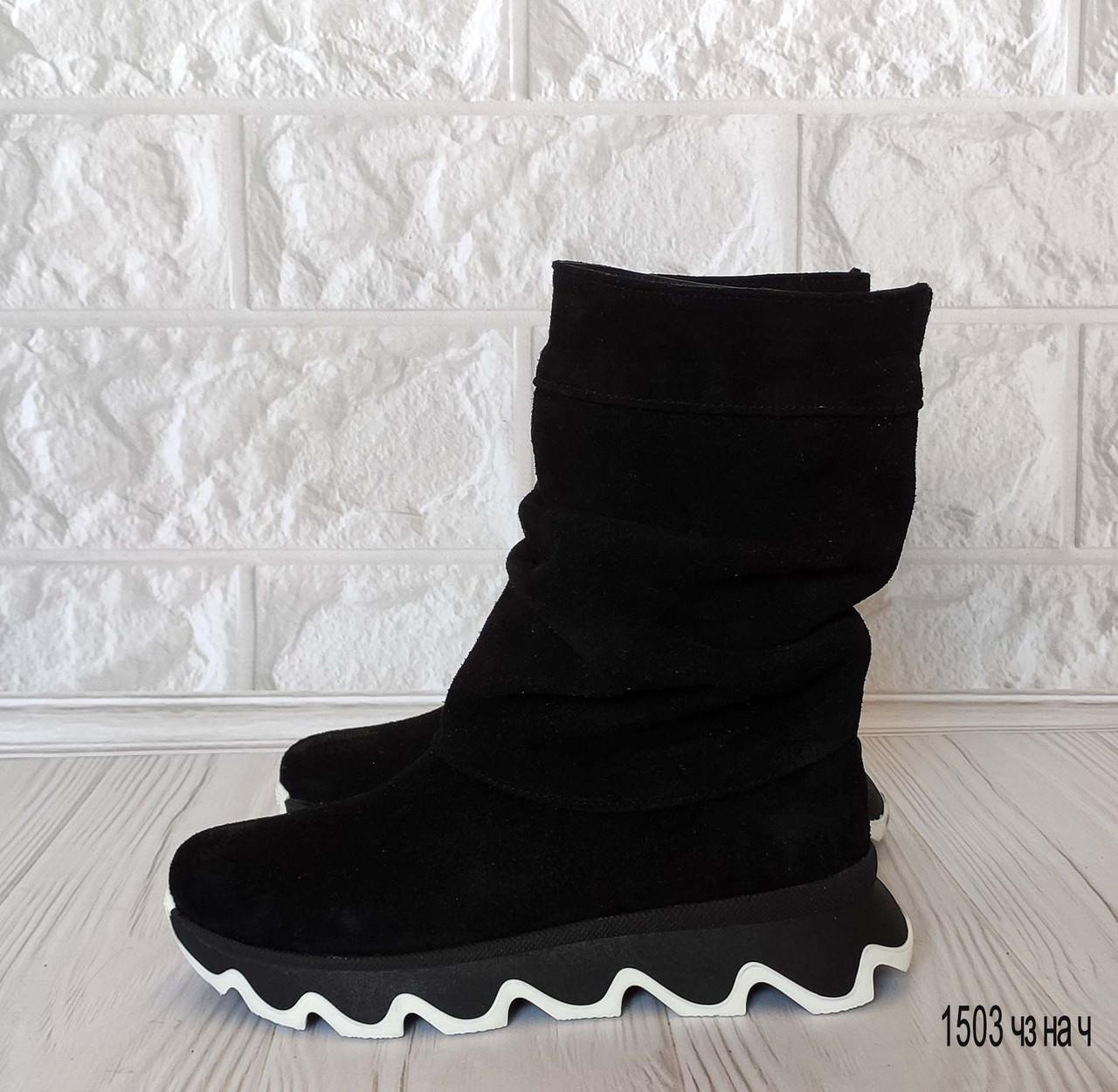 39 р. Ботинки женские деми черные замшевые на низком ходу низкий ход демисезонные из натуральной замши замша