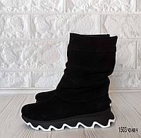 39 р. Ботинки женские деми черные замшевые на низком ходу низкий ход демисезонные из натуральной замши замша, фото 1