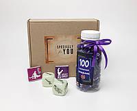 """Игра для взрослых """"100 наших желаний и позы любви"""" - кубики с позами, шоколад камасута, 100 пикантных заданий"""